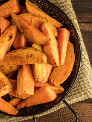 Roasted Sweet Potato Wedges with Brown Sugar and Cinnamon Recipe