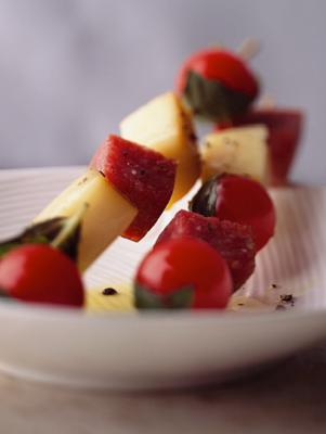 Salami, Mozzarella, and Basil-Tomato Skewers Recipe