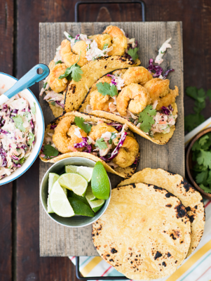 Adobo Shrimp Tacos With Smoked BBQ Chipotle Coleslaw Thumbnail