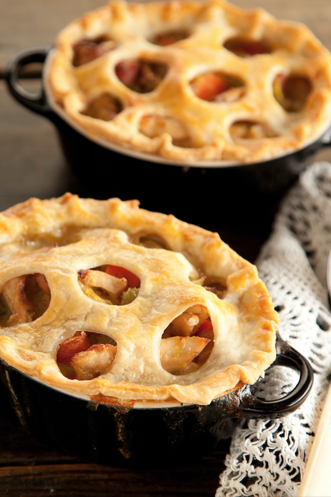 Chicken Pot Pies with Country Ham and Leeks