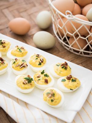 Goat Cheese Stuffed Eggs
