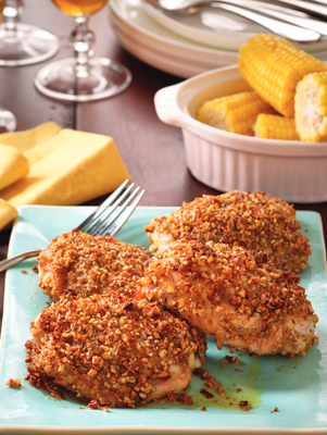 Pecan Crusted Chicken Thighs