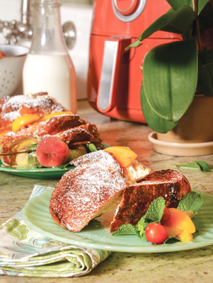 Air Fryer Peach and Cream Stuffed French Toast