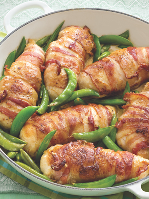 Bacon-Wrapped Chicken with Sugar Snap Peas Recipe