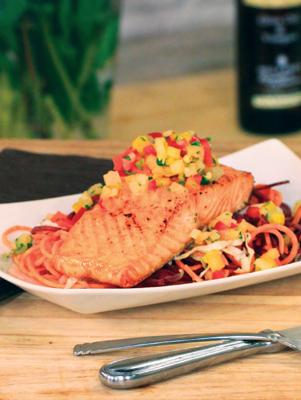 Air Fryer Maple-Glazed Salmon with Pineapple Salsa