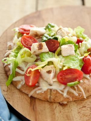 Chicken Caesar Pita Pizza