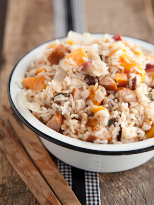 Pumpkin Risotto with Sage and Spicy Sausage