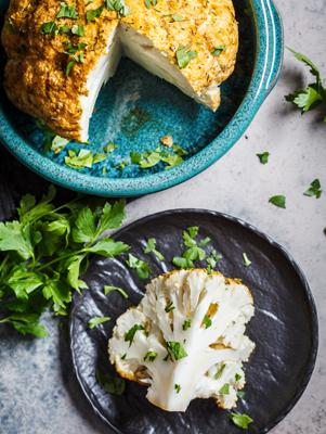 Air Fryer Parmesan and Dijonnaise-Crusted Whole Cauliflower