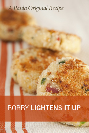 Bobby's Lighter Smashed Potato Cakes Recipe
