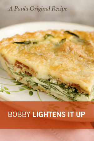 Bobby's Lighter Spinach and Bacon Quiche Recipe