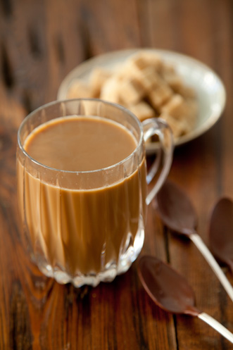 Cafe Au Lait with Chocolate Dipped Spoons Recipe