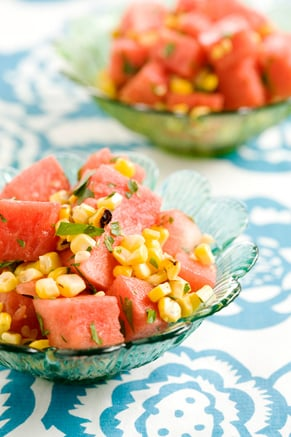 Chilled Grilled Corn and Watermelon Salad Recipe