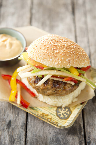 Chicken Burgers With Rainbow Sesame Slaw Recipe