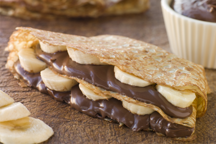 Chocolate-Banana filled Crepes Recipe