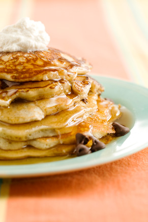 Chocolate Chip Pancakes with Cinnamon Cream Thumbnail