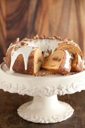 Lighter Cinnamon Ripple Sweet Potato Cake Recipe