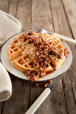 Corrie's Granola Waffles with Buttered Pecan Syrup Thumbnail