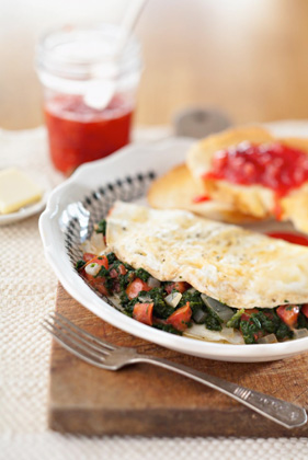 Bobby's Egg White Omelets with Spinach and Tomato Recipe