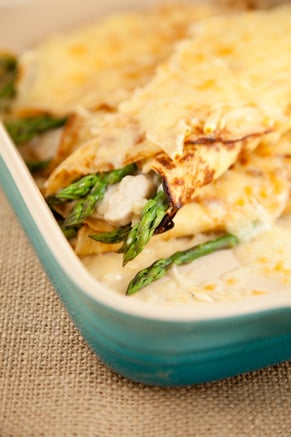 Bobby's Lighter Chicken and Asparagus Crepes Recipe
