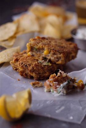 Crab-Corn Cakes with Basil-Jalapeno Sauce Recipe