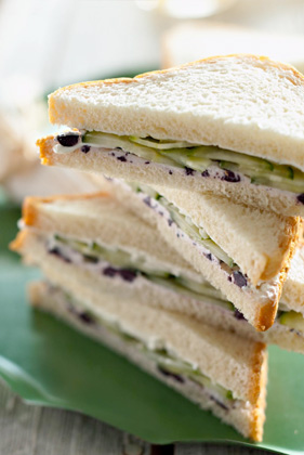 Cucumber, Vidalia Onion, and Cream Cheese Sandwiches Thumbnail