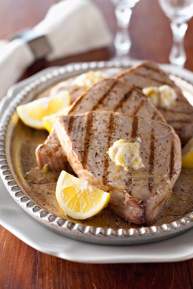 Grilled Tuna Steaks with Lemon-Pepper Butter Recipe