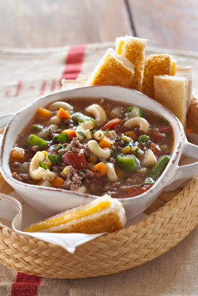 Jamie's Vegetable Soup with Grilled Cheese Sandwich Dunkers Recipe