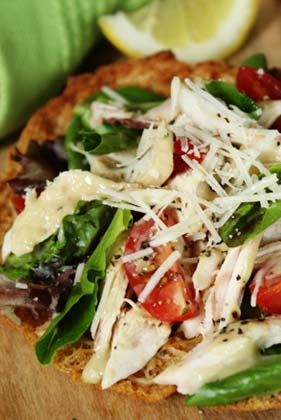 Lighter Chicken Caesar Pita Pizzas Recipe