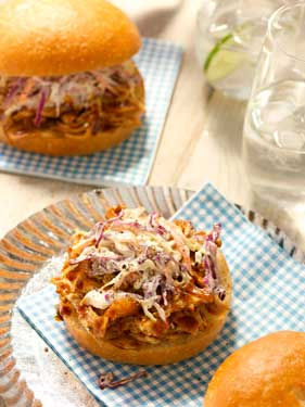 Pulled BBQ Chicken Sandwiches with Classic Southern Slaw Thumbnail