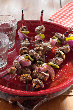 Steak Kabobs with Peppers, Onions and Mushrooms Thumbnail