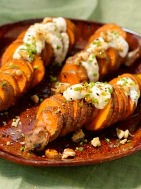 Sweet Potato Coins with Creamy Honey Drizzle Recipe