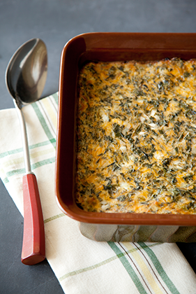 The Deen Bros. Lighter No-Crust Creamed Spinach Quiche Recipe