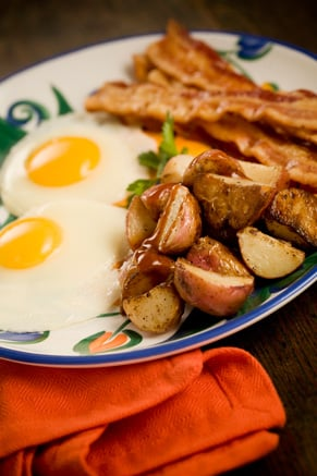 Eggs, Bacon and Skillet Fried Potatoes Drizzled with Spicy Steak Sauce Recipe