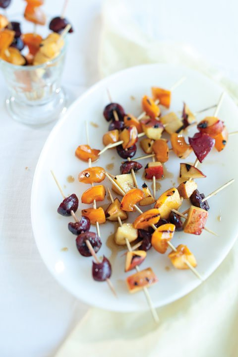 Grilled Fruit Skewers With Vanilla Bean Glaze Recipe