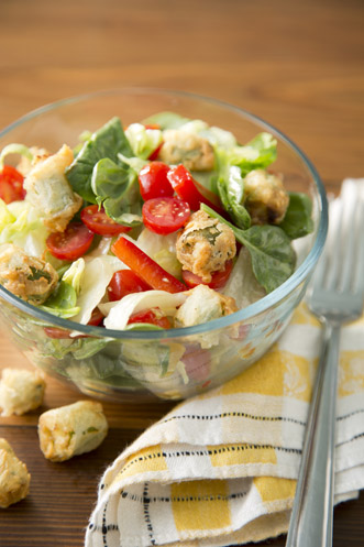 Garden Salad With Fried Okra Croutons Thumbnail