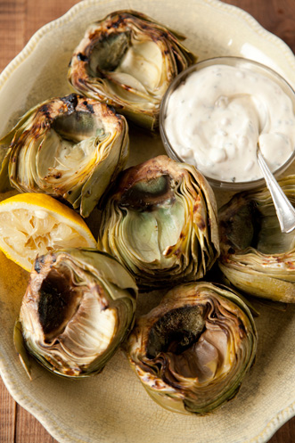 Grilled Artichokes with Bacon and Rosemary Dip Recipe
