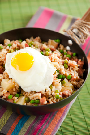 Ham Fried Rice With Pineapple and Fried Egg Recipe