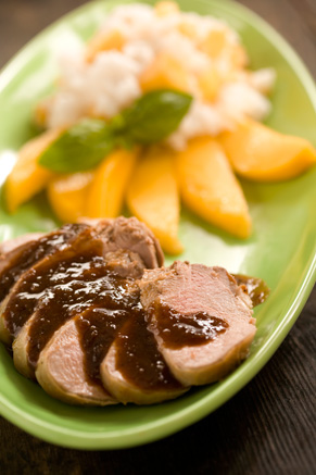 Marinated Pork Tenderloin with Sticky Rice and Mangoes Recipe