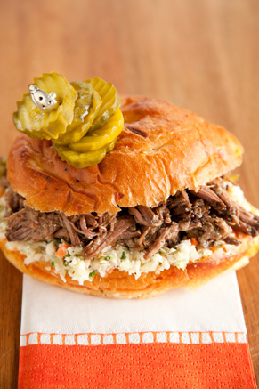 Slow Cooker Pulled Pickled Beef Sandwiches Recipe