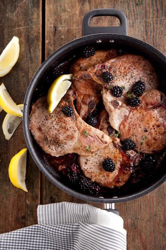 Pan-Fried Pork Chops With Blackberries Thumbnail