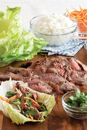 Onion-Sesame Flank Steak Lettuce Wraps Recipe