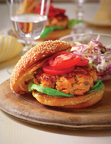 Salmon Burgers with Sun-Dried Tomato Mayonnaise Thumbnail
