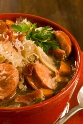 Lighter Slow Cooker Smoked Pork, Lentil, and Sauerkraut Soup Recipe