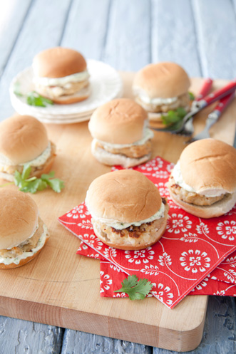 Scallop Burger Sliders with a Cilantro-Lime Mayo Recipe