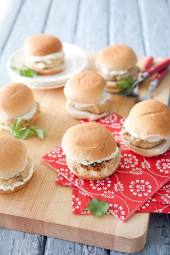 Scallop Burger Sliders with a Cilantro-Lime Mayo Recipe