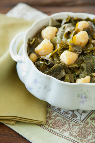 Southern Collards With Cornmeal Dumplings Thumbnail