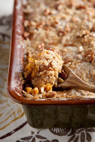 Sweet Potato Bread Pudding with Pecan Crumble Recipe