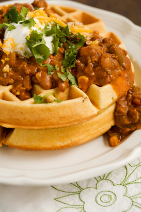 Cornmeal Waffles With Spicy Chili Recipe